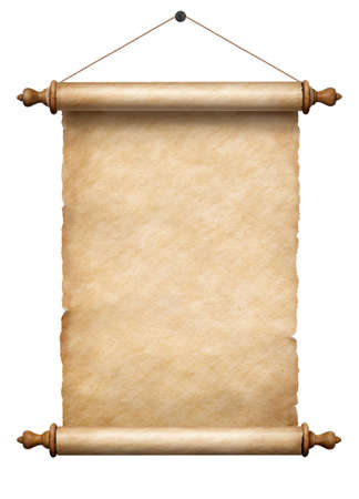 old vertical paper scroll hanging on rope isolated on white