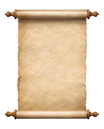 Antiguo rollo de papel vertical aislado en blanco