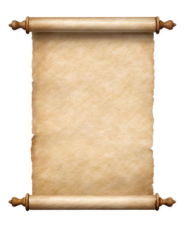 old vertical paper scroll isolated on white