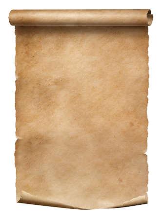 Antiguo rollo de papel desgastado aislado en blanco con manchas sucias