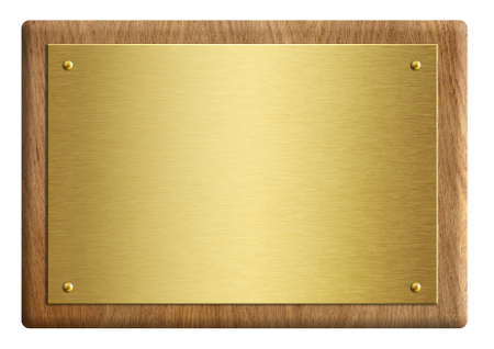 Hölzerne Auszeichnungsplakette mit Goldplatte 3D-Darstellung isoliert auf weiß