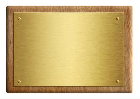 Targa premio in legno con illustrazione 3d placcata in oro isolato su bianco