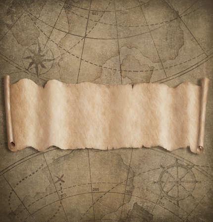 Fondo de mapa antiguo con banner de papel de pergamino en blanco