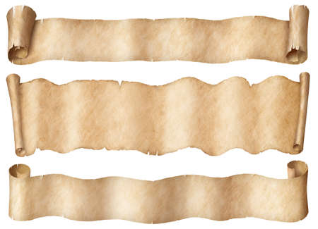 Wide parchment scrolls or old paper banners set isolated Stockfoto