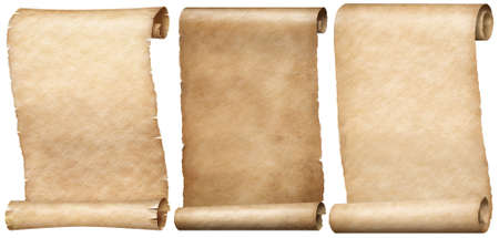 Vertical old paper letter scrolls set isolated on white Stockfoto