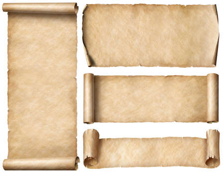 Wide old paper scrolls or banners set isolated