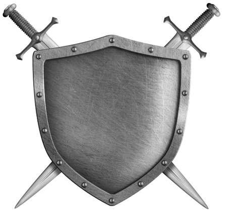 Metal classical shield with crossed swords isolated mixed media