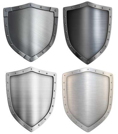Metal shields set isolated. Mixed media.