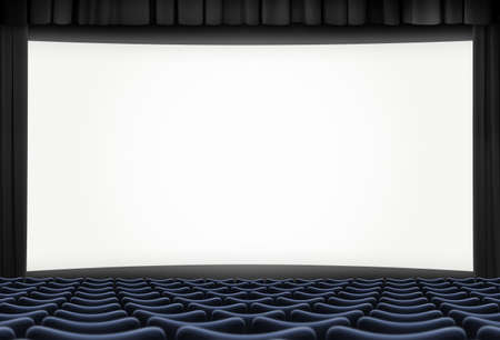 cinema big screen with black curtain frame and blue seats 3d illustration Imagens