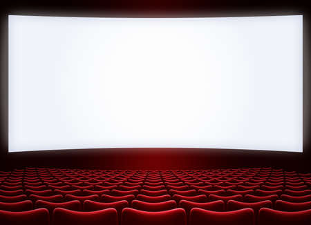 cinema big screen with red seats 3d illustration
