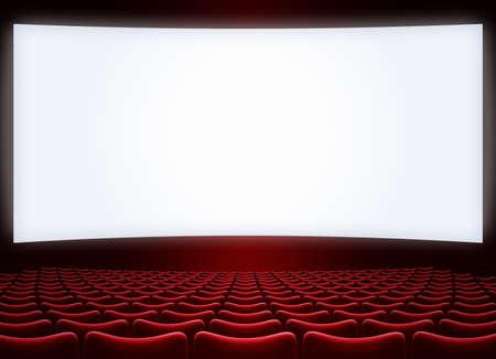 cinema grande schermo con sedili rossi illustrazione 3d