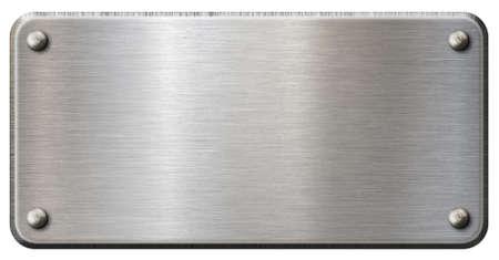 Einfache Metallplakette oder -platte isoliert Standard-Bild