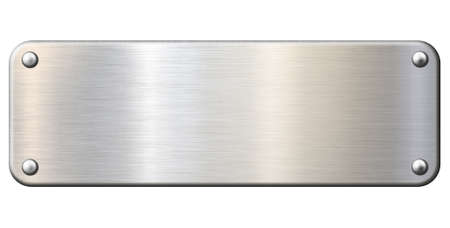 Narrow metal plaque or plate isolated