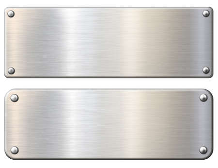 Einfache Metallplaketten oder Teller isoliert