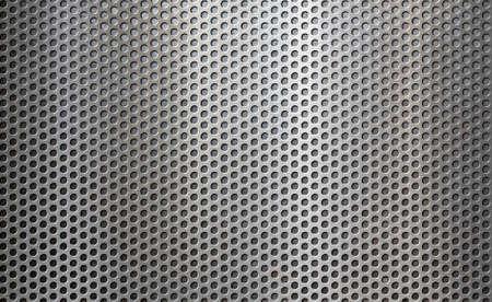 Old metal perforated grid background 3d illustration
