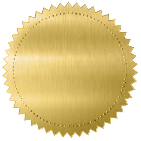 Gold foil diploma or certificate seal isolated on white