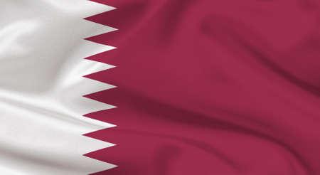 Wavy flag of Qatar on silk
