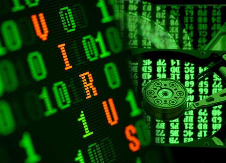 Virus found in binary data of computer hard disc