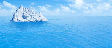 Iceberg in ocean. Hidden threat or danger concept. 3d illustration. Imagens