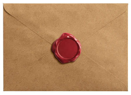 Old letter envelope with wax seal isolated Imagens