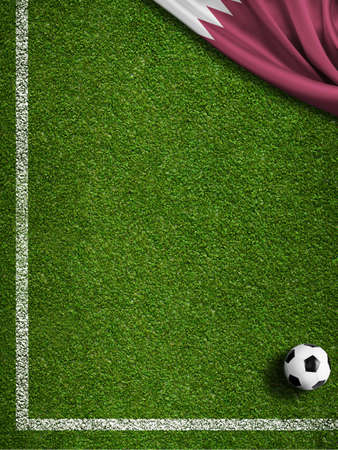 Soccer field corner and Qatar flag with ball concept background