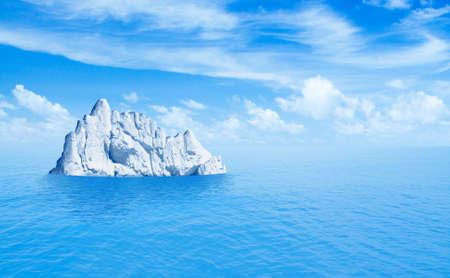 Iceberg in ocean as hidden threat or danger concept