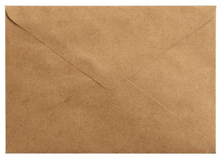 Old letter envelope isolated on white