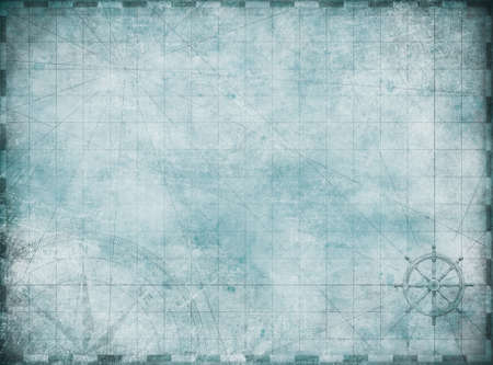 old blue blank treasure map background Imagens