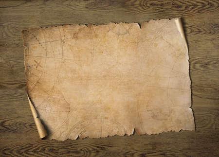 Old treasure map on wood table 3d illustration