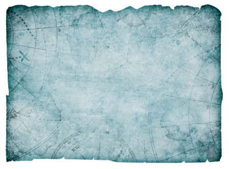 old blue blank treasure map isolated