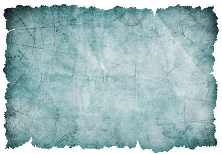 old blue torn blank treasure map isolated
