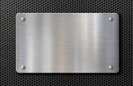 metal plate with rivets over black grid background 3d illustration Stockfoto