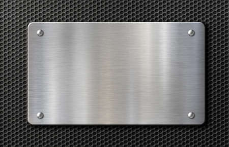 metal plate with rivets over black grid background 3d illustration Archivio Fotografico