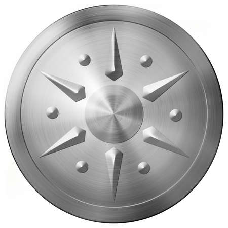 Round metal shield with star isolated 3d illustration
