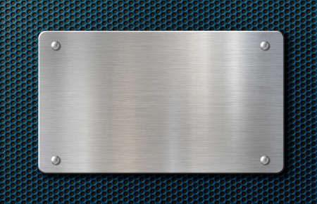 metal plaque or plate with rivets over blue background 3d illustration