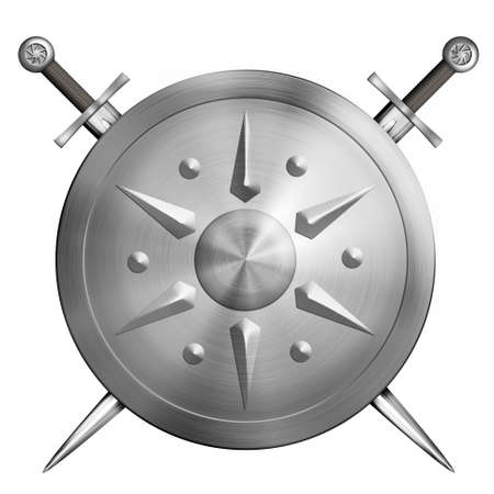 metal round shield with crossed swords isolated 3d illustration