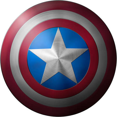 Captain America shield isolated on white background 3d illustration