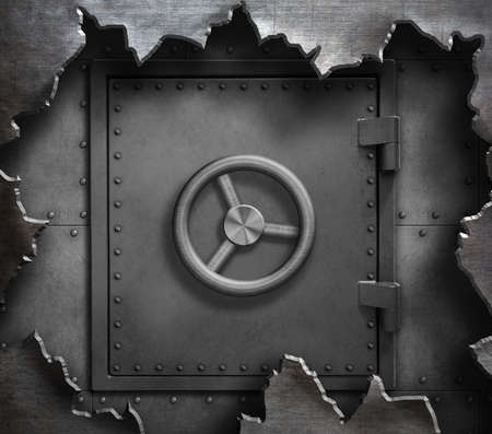 Safe door in torn metal 3d illustration Imagens