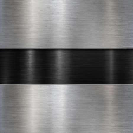 Brushed metal plaques over black background 3d illustration