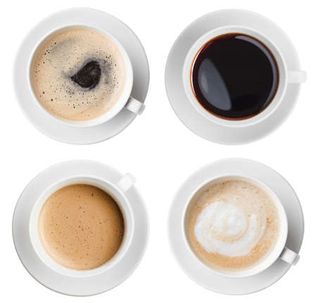 Coffee cups top view set isolated on white