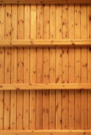 Two empty wooden shelves or rack Imagens