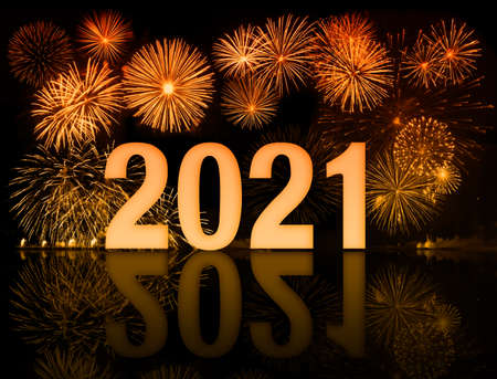new year 2021 digits and fireworks