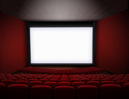 cinema theater with big screen and red seats 3d illustration