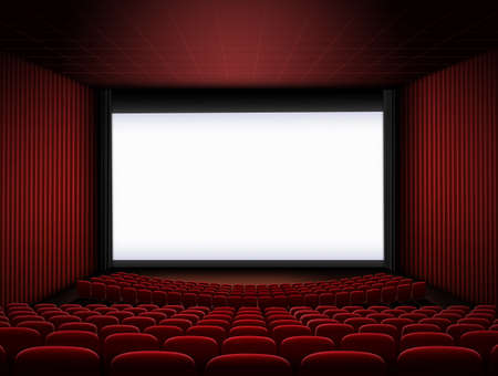 cinema hall with big screen and red seats 3d illustration