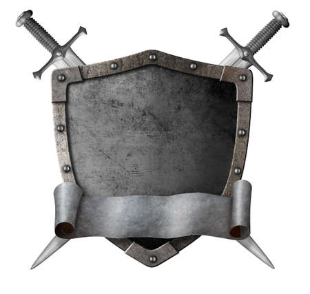 Metal classical shield with crossed swords and motto scroll isolated 3d illustration