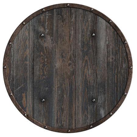 round wooden shield very simple 3d illustration Standard-Bild