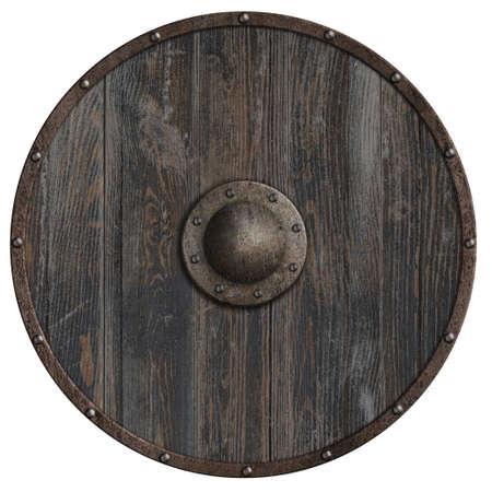 Viking round wooden shield 3d illustration Standard-Bild