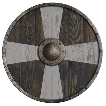 round wooden shield with white cross 3d illustration
