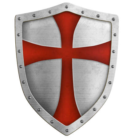 Metal classical shield with red cross 3d illustration Standard-Bild