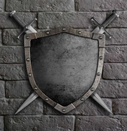 Metal old shield with crossed swords on brick wall 3d illustration Standard-Bild